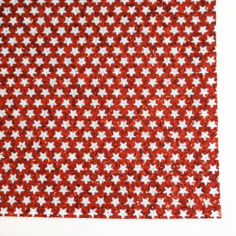Red & White Star Specialty Glitter Fabric Sheet