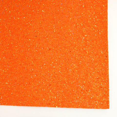 Neon Orange Frost Premium Glitter Fabric Sheet
