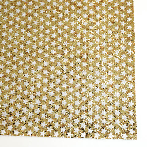 Gold & White Star Specialty Glitter Fabric Sheet