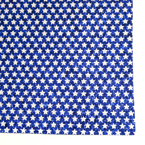 Blue & White Star Specialty Glitter Fabric Sheet