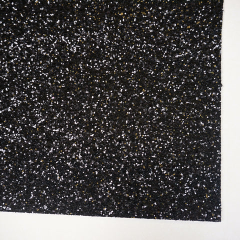 Black Premium Glitter Fabric Sheet - TWILL BACK