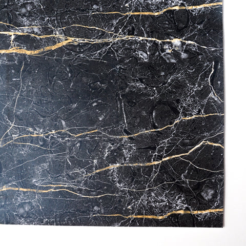 Black Quartz Marble Faux Leather