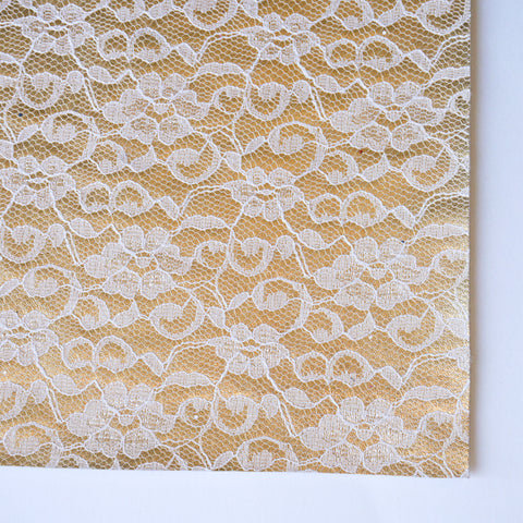 Pale Gold with White Lace Faux Leather