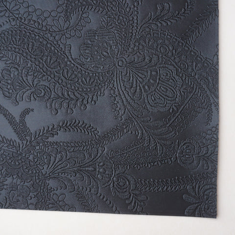 Black Lace Embossed Faux Leather