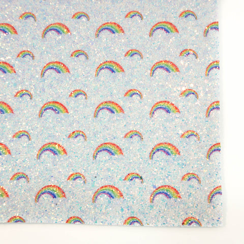 Blue Rainbow Printed Premium Chunky Glitter Fabric Sheet