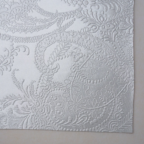 Silver Lace Embossed Faux Leather