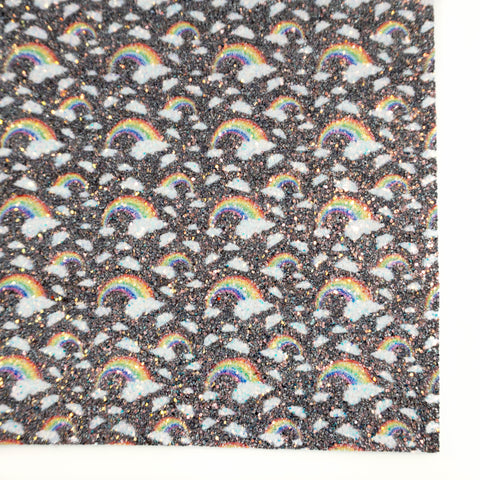Black Rainbow Printed Premium Chunky Glitter Fabric Sheet