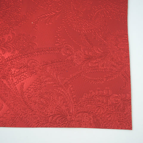 Red Lace Embossed Faux Leather