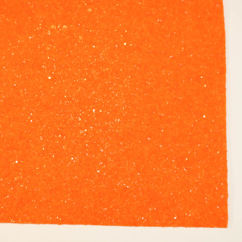 Neon Orange Glass Premium Glitter Fabric Sheet