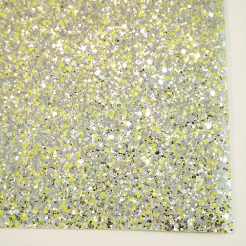 Neon Yellow Glam Specialty Glitter Fabric Sheet