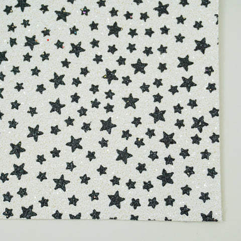 White & Black Star Specialty Glitter Fabric Sheet