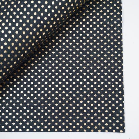 Metallic Gold Polka Dot on Black 100% Wool Felt - 8x12""