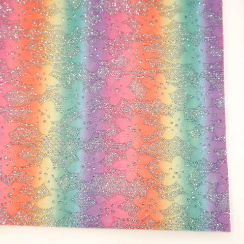 Silver Rainbow Lace Specialty Glitter Fabric Sheet
