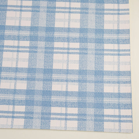 Sky Blue Tartan Plaid Faux Leather