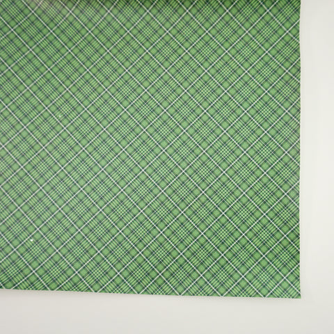 Green Plaid Faux Leather