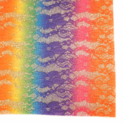 Gold Rainbow Lace Specialty Glitter Fabric Sheet
