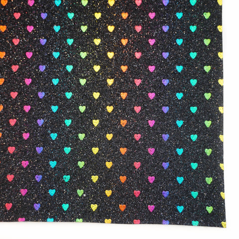 Black with Rainbow Heart Fine Glitter Fabric Sheet