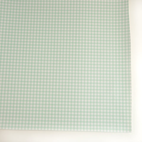Mint Pastel Gingham Plaid Faux Leather