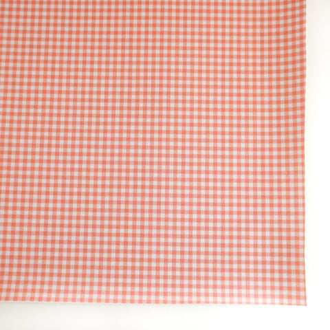 Coral Red Gingham Plaid Faux Leather