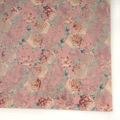 Pink Vintage Rose Metallic Floral Faux Leather