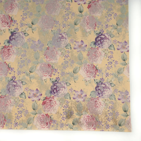 Buttercream Vintage Rose Metallic Floral Faux Leather
