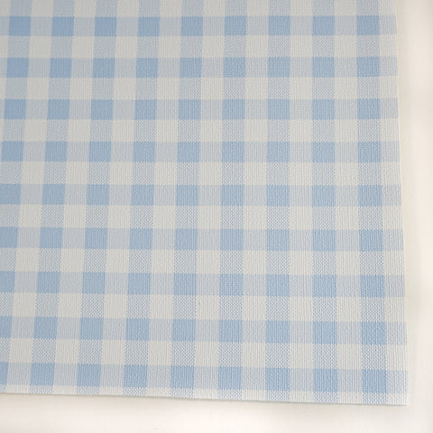 Light Blue Small Buffalo Plaid Faux Leather