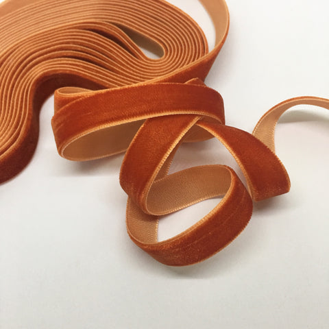 Rust Velvet Ribbon - 1/2 inch