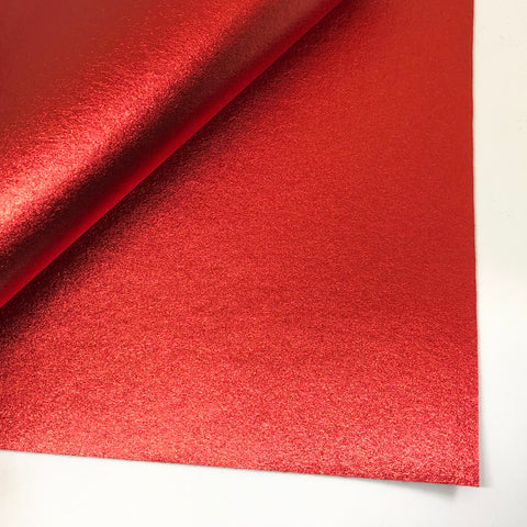 Red Metallic 100% Wool Felt - 9.5x12""