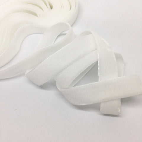 White Velvet Ribbon - 1/2 inch