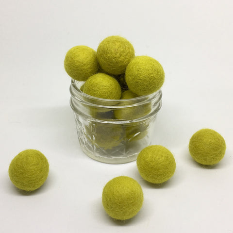 Mellow Yellow 100% Wool Felt Balls - 2cm