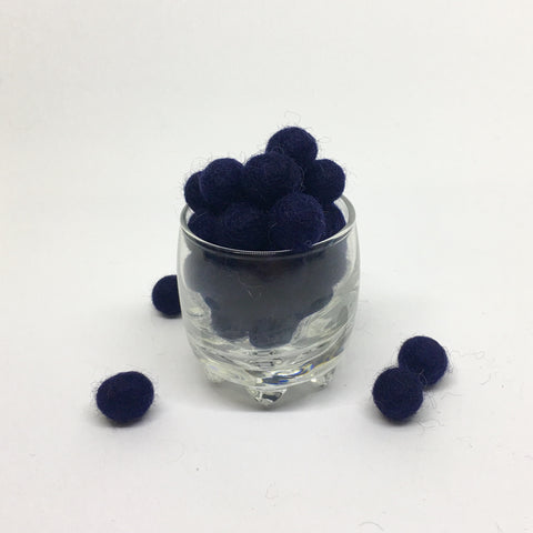 Midnight 100% Wool Felt Balls - 1cm