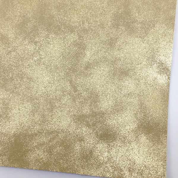 Pale Gold Metallic Patina Smooth Faux Leather