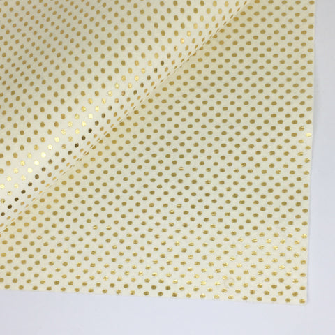 Metallic Gold Polka Dot on Ivory 100% Wool Felt - 8x12""