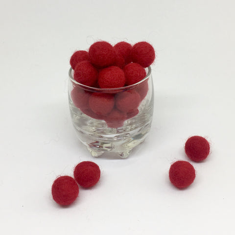 Red 100% Wool Felt Balls - 1cm