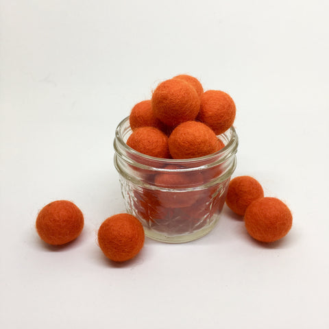 Dark Orange 100% Wool Felt Balls - 2cm
