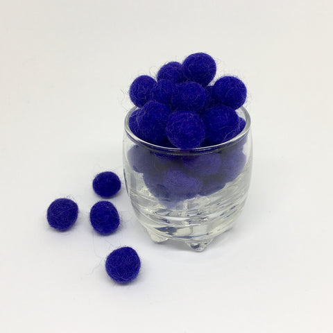 Royal Blue 100% Wool Felt Balls - 1cm