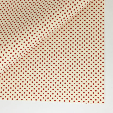 Red Polka Dot on White 100% Wool Felt - 8x12""