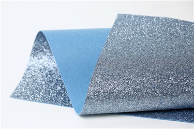 Steel Blue Glitter 100% Wool Felt - 9.5x12""