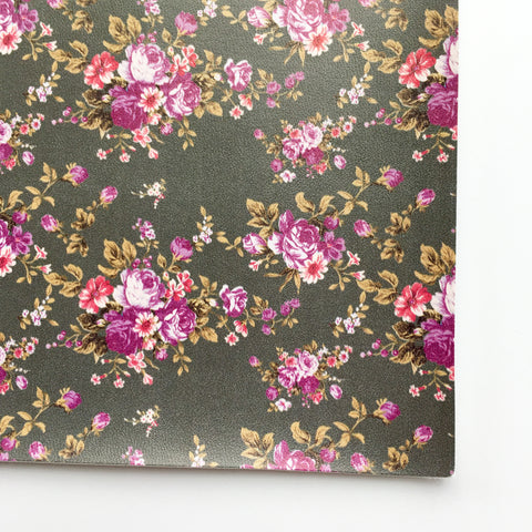Gray Floral Faux Leather