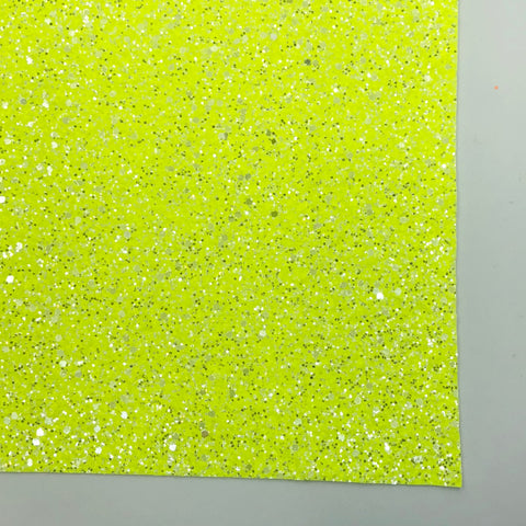 Neon Yellow Sherbet Specialty Glitter Fabric Sheet