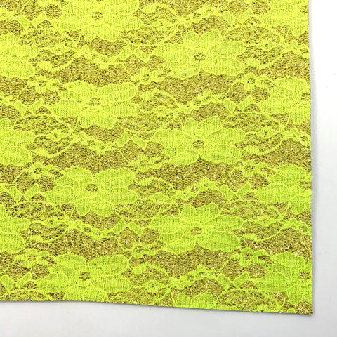 Neon Yellow Floral Lace Fine Glitter Fabric Sheet