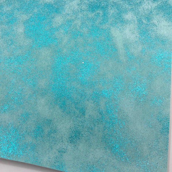 Sky Blue Metallic Patina Smooth Faux Leather