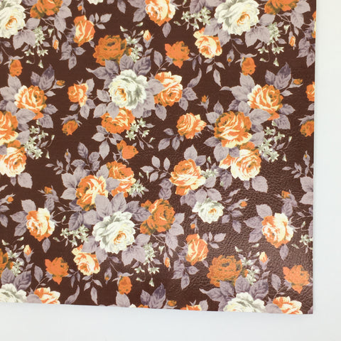 Chocolate Textured Floral Faux Leather