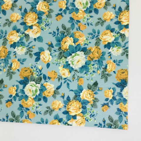 Aqua Rose Textured Floral Faux Leather