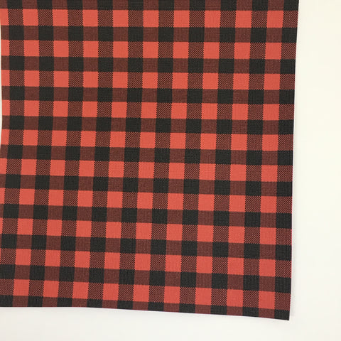 Red Small Buffalo Plaid Faux Leather