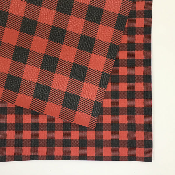 White Small Buffalo Plaid Faux Leather
