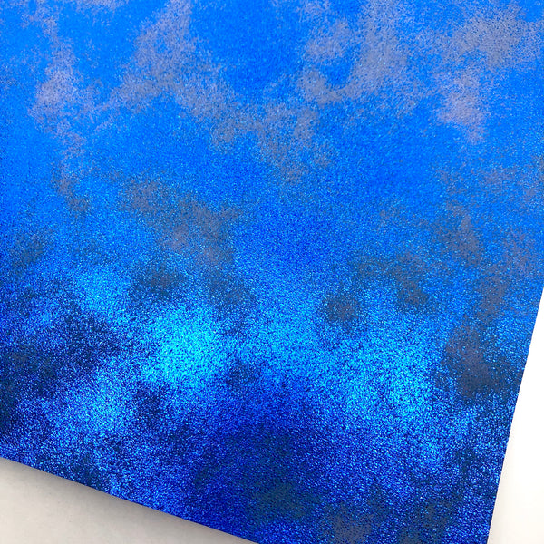 Cobalt Metallic Patina Smooth Faux Leather