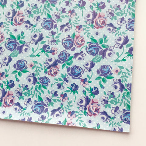 Periwinkle Floral Faux Leather