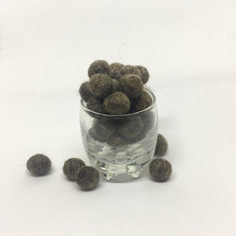 Heather Oak 100% Wool Felt Balls - 1cm