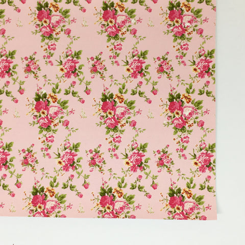 Pink Small Floral Faux Leather